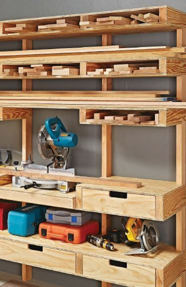 Awesome timber storage solutions table saw central - Space saving ideas for garage ...